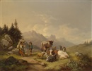Attributed To Joseph Heicke, Rast auf der Alm