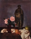 Wilhelm Lachnit, Still life with rose and sculpture of Christ