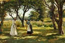 Otto Bache, A garden in Hornbæk. Marie Charlotte and Emilie are playing croquet