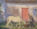 George Franklin Arbuckle, A farmer watering his horse at a well