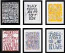 William Pope.L, Yellow People are..., Black People are my..., Yellow People..., Green People are the white..., Green People are America... and Purple People do... (6 works)