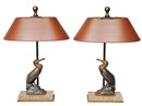 Maurice Frecourt, A pair of Art Déco figures cormorant as table lamps (pair)