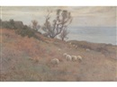 Frederick William Jackson, Sea view, possibly Runswick Bay, with cottage and trees, sheep in the foreground