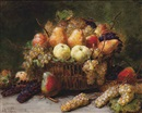 Alexis Kreyder, Pears, apples and grapes in a wicker basket on a stone ledge