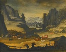 Follower Of Paul Bril, Mountainous Landscape with Cows, Herders and Wolves