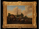 Pieter Wouwerman, A horse fair in a village setting with buildings and a church beyond