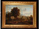 Manner Of Nicolas Poussin, Diogenes beside a pool with an Italiante landscape beyond