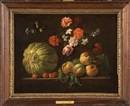 Attributed To Jean-Michel Picart, Composition de fruits et de fleurs sur un entablement