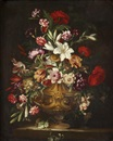 Manner Of Mario Nuzzi, Lilies, carnations, tulips, anemonies, morning glory, peonies and other flowers in a sculpted urn on a stone ledge