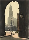 Leon Dabo, The Woolworth Building through the Municipal Building Arch