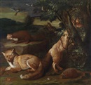 Attributed To Johann Friedrich Grooth, Wildtiere vor Landschaftshintergrund