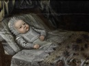 Anglo-Dutch School (17), Portrait of a baby, in lace costume lying upon a bed