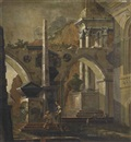 Follower Of Antonio Visentini, An architectural capriccio with figures before an obelisk
