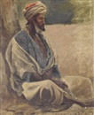 Edwin Lord Weeks, Seated Man in a Turban, North Africa