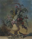 Follower Of Jean-Jacques Bachelier, Roses, irises, morning glory, fox glove and other flowers in a sculpted urn, on a ledge, with birds, in a landscape