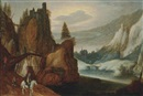 Follower Of Joos de Momper the Younger, A mountainous river landscape with travellers on a bridge