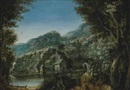 Circle Of Paul Bril, A wooded river landscape with villagers conversing