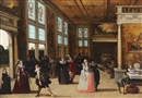 Attributed To Louis de Caullery, Elegant company dancing in an interior