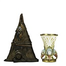 Amphora Werke Reissner, Teepee humidor with American Indian, and vase with birds (2 works)