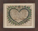 Anonymous-American (18), Rare Pennsylvania fold-up tauff-wunsch, Birth record with a central heart enclosing script surrounded by black and green leaves and a flower