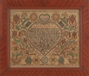 Anonymous-American (18), Fraktur: checkerboard tulips, elaborate stylized flowers, striped leaves and geometric designs, all arising from checkerboard pots and surrounding a center scalloped edge heart enclosing script