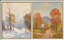 Ernest Fredericks, Winter landscape and Barn in Autumn (2 works)