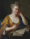 Circle Of Anton Graff, Portrait of a lady, half-length, in a yellow dress and blue wrap, seated at a writing table, a quill in her right hand