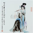 Dai Ronghua, 此曲只应天上有 (Beautiful music, famille-rose porcelain plaque)