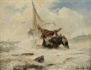 Andreas Achenbach, Departure in stormy sea