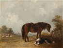 Edward Robert Smythe, Dog and horse in a landscape