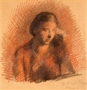 Pavel Tchelitchew, Bust Portrait of Seated Woman