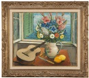 Alois Lecoque, Still life with guitar and vase of flowers