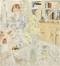 Winifred Nicholson, Amy in the Kitchen at Banks Head (+ portrait of Vera Moore playing piano, verso)