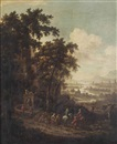 Dionys Verburgh, Travellers by a fountain, a river landscape in the distance