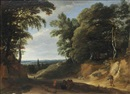 Lodewijk de Vadder, A wooded landscape with figures on a path, a village beyond