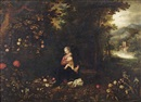 Studio Of Jan Brueghel the Younger, A wooded landscape with the Rest on the Flight to Egypt