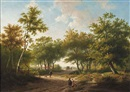 Hendrik Pieter Koekkoek, Travelers in a forest during a sunny day