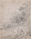 Thomas Gainsborough, Figures By a Track Through a Wooded Landscape