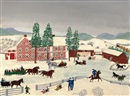 Grandma Moses, The Old Checkered House in Cambridge Valley