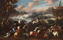 Circle Of Jacques Courtois, A pair of cavalry skirmishes with landscapes (pair)