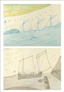 Alfred Wallis, Three yachts passing a lighthouse and dolphins (and Ship with five crew entering harbour with two lighthouses, verso) (double sided)