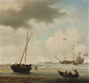 Willem van de Velde the Younger, A kaag aground at low water in a fresh breeze: A fishing boat rowing off from the shore