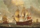 Willem van de Velde the Elder, An English Fourth Rate ship-of-the-line, thought to be the 46-gun H.M.S. Mordaunt, announcing her departure from the fleet anchorage
