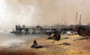 Edward Robert Smythe, Figures on Yarmouth Beach with Jetty