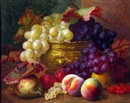 Eloise Harriet Stannard, Still Life Study of Mixed Fruit and Silver Gilt Jardinire