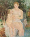Olga Sacharoff, Mother and daughter bathing