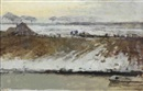 George Hendrik Breitner, A farmyard in the snow at sunset