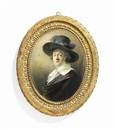 Friedrich Heinrich Füger, Joseph Barth (1746-1818), in silk-lined olive-green cloak, white shirt, wide-brim hat decorated with plumes