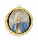 Niclas Lafrensen the Elder, Frederick I (1676-1751), King of Sweden, in gilt-edged silver breastplate, gold embroidered blue coat with ermine lining, long powdered curling wig; landscape background