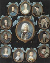 Niclas Lafrensen the Elder, A frame containing twelve oval portraits of members of the Swedish Royal Family within gilt surrounds, coronet and blue ribbon surmounts